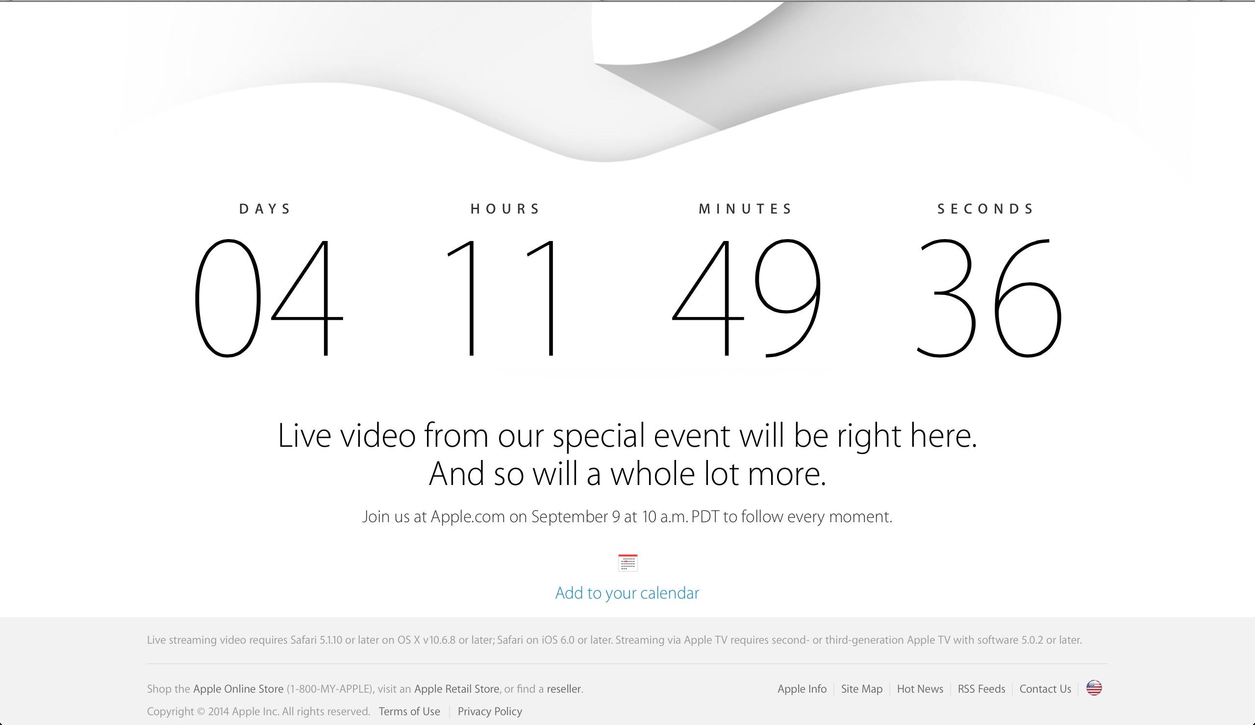 Apple 9月9日のスペシャルイベントを Live 中継。